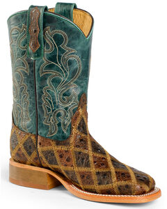 Anderson Bean Youth Boys' Patchwork Angy Bird Cowboy Boots - Square Toe, , hi-res