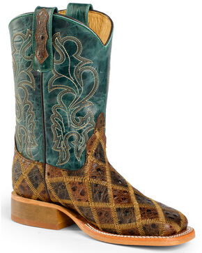 Anderson Bean Youth Boys' Patchwork Angy Bird Cowboy Boots - Square Toe, Brown, hi-res