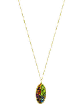 Jilzarah Santa Fe Gold Frame Pendant Necklace, Multi, hi-res