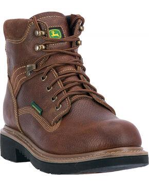 "John Deere Men's 6"" Waterproof Lace-Up Work Boots - Round Toe, Brown, hi-res"