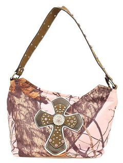 Blazin Roxx Pink Mossy Oak with Cross Applique Hobo Bag, , hi-res