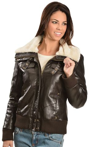 Cripple Creek Faux Leather Bomber Jacket, Chocolate, hi-res
