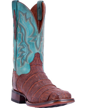 Dan Post Men's Bishop Caiman Tail Cowboy Certified Cowboy Boots - Square Toe, Chocolate, hi-res