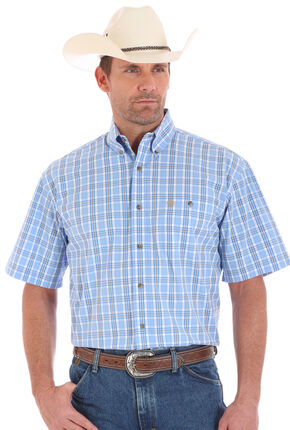 Wrangler George Strait Men's Short Sleeve Plaid One Pocket Button Shirt, Blue, hi-res