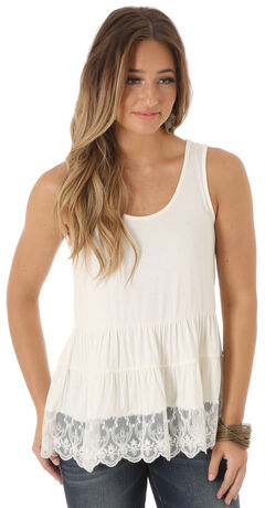 Wrangler Women's Sleeveless Tiered with Lace Hem Top, , hi-res