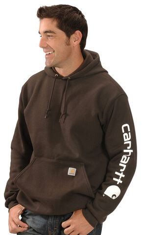 Carhartt Logo Hooded Sweatshirt, Brown, hi-res
