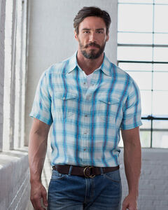 Ryan Michael Men's Short Sleeve Ombre Plaid Shirt, , hi-res