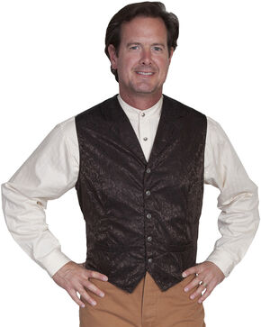Wahmaker by Scully Silk Floral Single Breasted Vest, Chocolate, hi-res