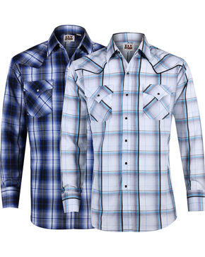 Ely Cattleman Men's Textured Plaid Long Sleeve Western Shirt, Multi, hi-res