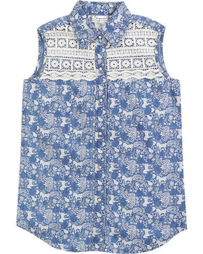 Shyanne Girls' Horse Printed Sleeveless Shirt, Blue, hi-res