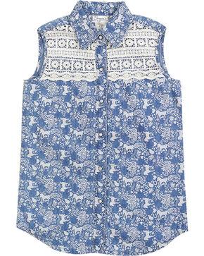 Shyanne Girls' Horse Printed Sleeveless Shirt, Blue, hi-res