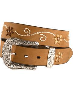 Nocona Floral Stitched Leather Belt - Plus, , hi-res