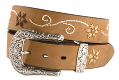 Nocona Floral Stitched Leather Belt, , hi-res