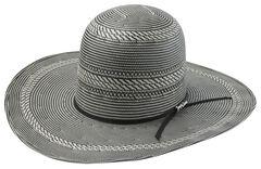 Tony Lama Open Crown Black & White Straw Cowboy Hat, , hi-res