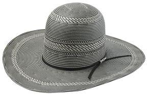 Tony Lama Open Crown Black & White Straw Cowboy Hat, Blk/white, hi-res