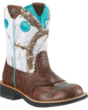 Ariat Fatbaby Crinkle Camo Cowgirl Boot - Round Toe, Brown, hi-res