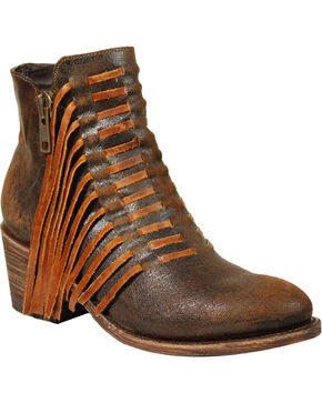 Corral Women's Brown Side Fringe Ankle Boots - Medium Toe , Brown, hi-res