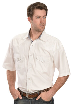 Red Ranch Short Sleeve White Embroidered Western Shirt, White, hi-res
