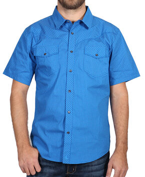 Cody James Men's Printed Western Short Sleeve Shirt, Blue, hi-res
