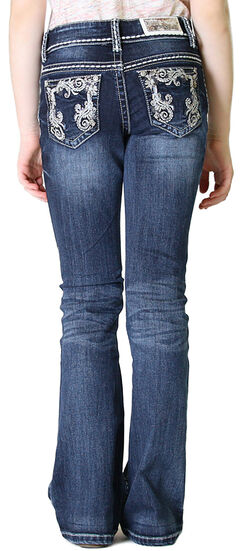 Grace in LA Girls' Dark Wash Scroll Embroidery Bootcut Jeans (4-6X), , hi-res