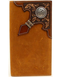Ariat Men's Rodeo Embossed Overlay Ribbon Round Concho Wallet, , hi-res