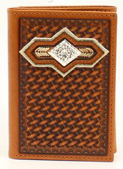 Nocona Basketweave Diamond Concho Tri-fold Wallet, , hi-res