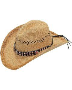 Blazin Roxx Pink Crystal Hat Band Raffia Straw Cowgirl Hat, , hi-res