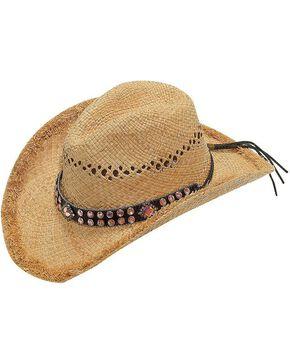 Blazin Roxx Pink Crystal Hat Band Raffia Straw Cowgirl Hat, Natural, hi-res