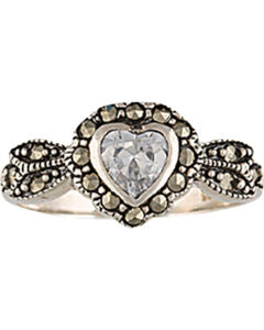 Montana Silversmiths Sparks Will Fly Framed Heart Marcasite Ring, , hi-res