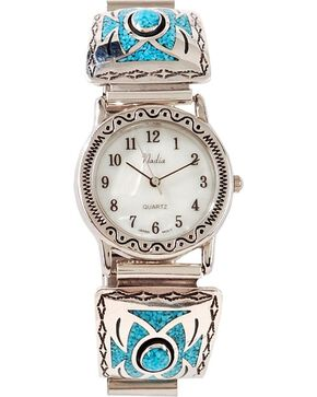 Turquoise Inlay Watch, Silver, hi-res