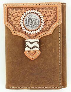 Nocona Basketweave Overlay Cowboy Prayer Concho Tri-fold Wallet, , hi-res
