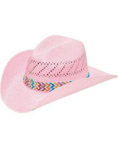 M & F Western Pink Raffia with Chevron Hatband Cowgirl Hat, , hi-res