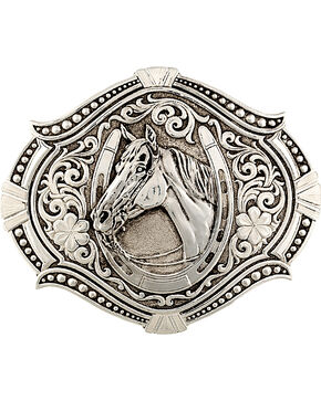 Montana Silversmiths Men's Antiqued Derby Winner Buckle, Silver, hi-res