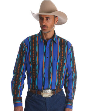 Wrangler Men's Blue Checotah Vertical Stripe Western Shirt , Blue, hi-res