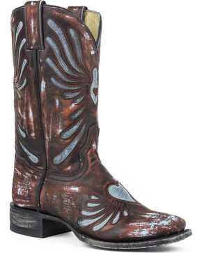 Sterson Heart Turquoise Underlay Cowgirl Boots - Square Toe, Brown, hi-res