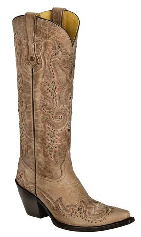 Corral Studded Bone Leather Cowgirl Boots - Snip Toe, Bone, hi-res