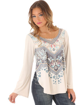 Wrangler Women's Bell Sleeve Printed Top, Natural, hi-res