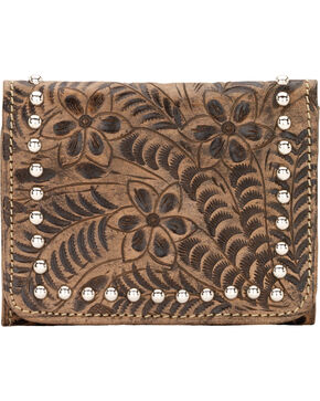 American West Navajo Soul Small Tri-Fold Wallet, Dark Brown, hi-res