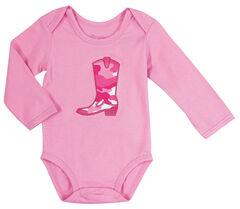 Wrangler Infant Girls' Long Sleeve Pink Cowgirl Boot Bodysuit, , hi-res