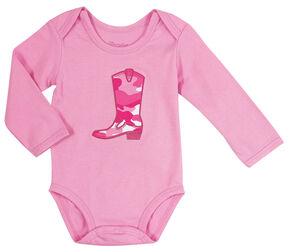 Wrangler Infant Girls' Long Sleeve Pink Cowgirl Boot Bodysuit, Pink, hi-res