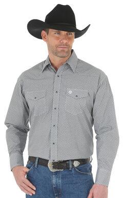 Wrangler George Strait Men's Black/White Printed Poplin Snap Shirt - Big & Tall, , hi-res