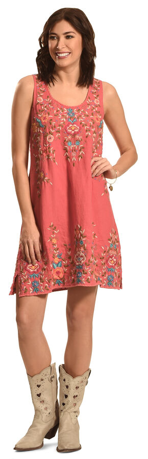 Johnny Was Women's Coral Tuscany Linen Tank Dress, Coral, hi-res