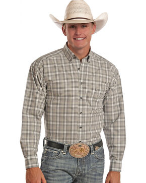 Tuf Cooper Performance Tan Plaid Poplin Western Shirt, Plaid, hi-res
