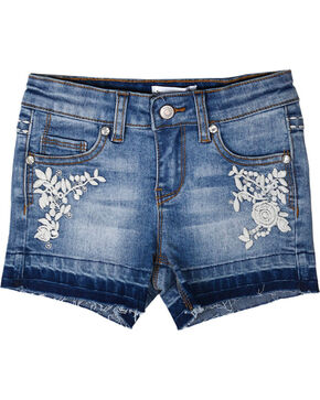 Shyanne Girls' Floral Embroidered Cutoff Shorts, Blue, hi-res