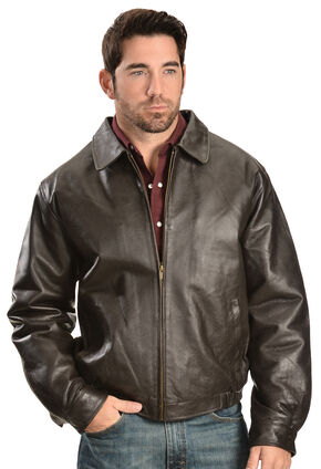 Vintage Leather Men's Brown Leather Bomber Jacket, Brown, hi-res