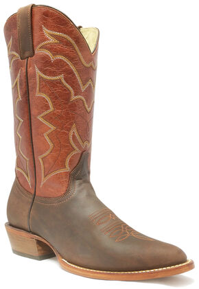 "Stetson Bat 13"" Cowboy Boots - Round Toe, Brown, hi-res"