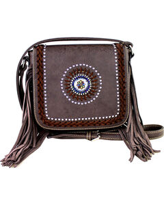Montana West Braided Lacing Fringe Collection Crossbody Bag, , hi-res
