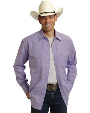 Roper Amarillo Collection Purple Long Sleeve Shirt, Purple, hi-res