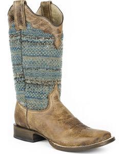 Roper Women's Brown Arnette Western Boots - Square Toe , Brown, hi-res