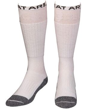 Ariat Men's Over the Calf Full Cushion Boot Socks - 2 Pack, White, hi-res